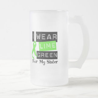 Lymphoma I Wear Lime Green Ribbon For My Sister Frosted Glass Beer Mug