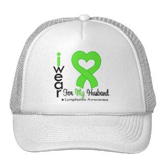 Lymphoma Lime Green Heart Support Husband Trucker Hats