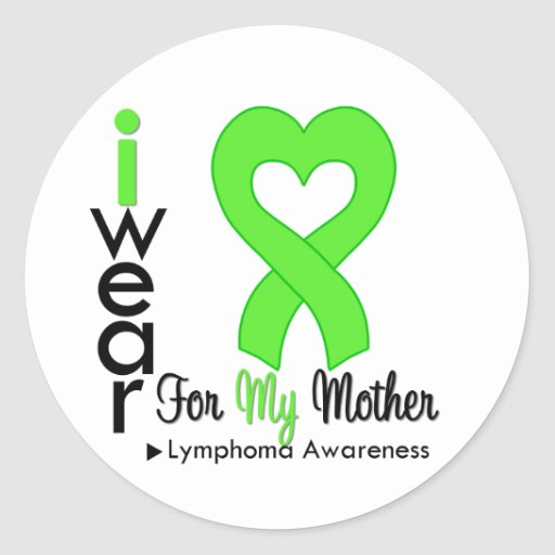 Lymphoma Lime Green Heart Support Mother Sticker