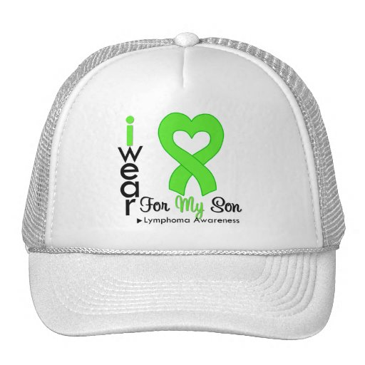 Lymphoma Lime Green Heart Support Son Mesh Hat