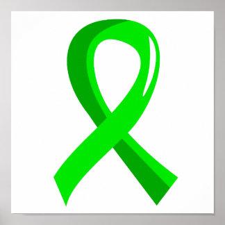 Lymphoma Lime Green Ribbon 3 Poster