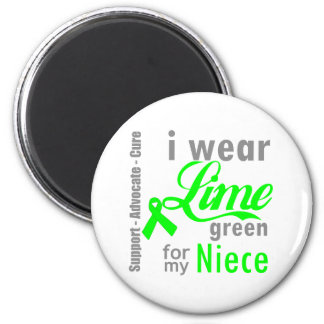 Lymphoma Lime Green Ribbon For My Niece 6 Cm Round Magnet