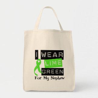 Lymphoma Lime Green Ribbon Nephew Canvas Bags