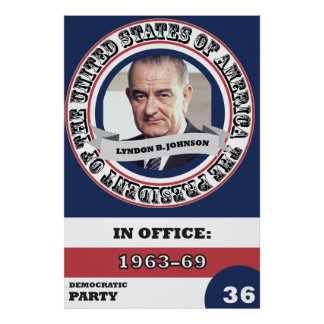 Lyndon B. Johnson Presidential History Retro Poster