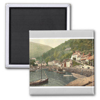 Lynmouth Harbor, Lynton and Lynmouth, England magn Square Magnet