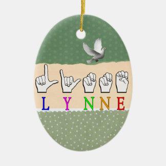 LYNNE FINGERSPELLED ASL NAME SIGN DEAF CERAMIC ORNAMENT