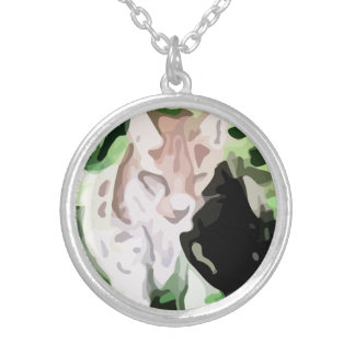 lynx cat painting round pendant necklace