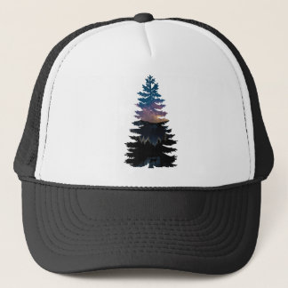 Lynx in the Pines under a Starry Night Trucker Hat