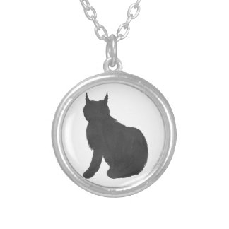 Lynx Silhouette Silver Plated Necklace