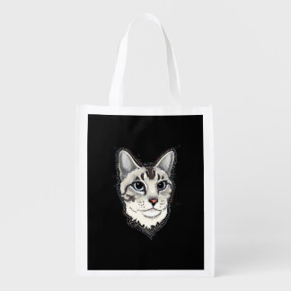 lynxpoint siamese cat reusable tote bag