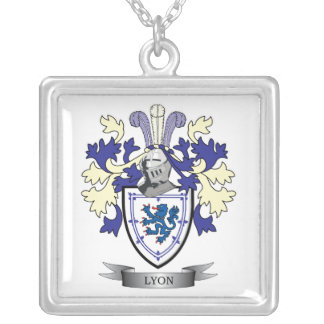 Lyon Family Crest Coat of Arms Silver Plated Necklace
