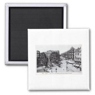 Lyon, France 1910 Vintage Square Magnet