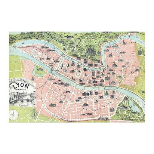 Lyon Monumental Map Garnier Freres Paris 1894 Canvas Print