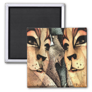 Lyon of the Jungle Square Magnet