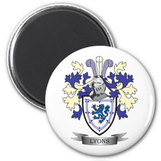 Lyons Family Crest Coat of Arms 6 Cm Round Magnet