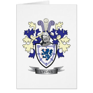 Lyons Family Crest Coat of Arms Card