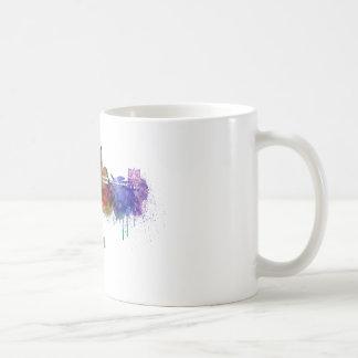 Lyons skyline in watercolor basic white mug