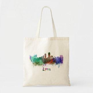 Lyons skyline in watercolor tote bag