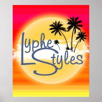 LypheStyles Logo Sun Sunset Palm Trees Poster