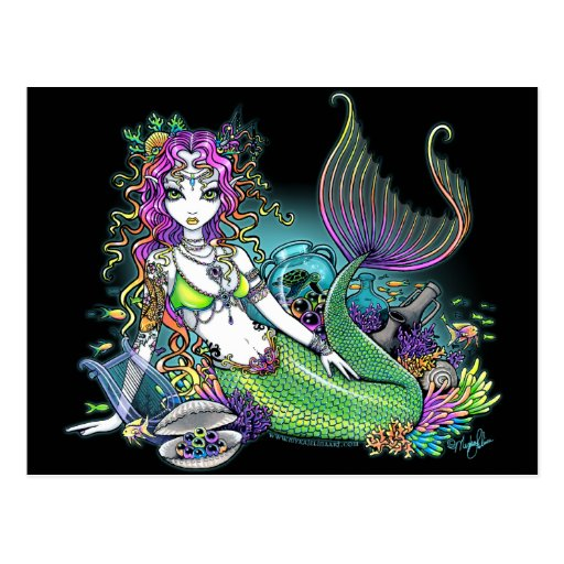 """Lyra"" Tropical Rainbow Mermaid Art Postcard"