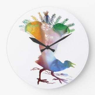 Lyrebird Large Clock