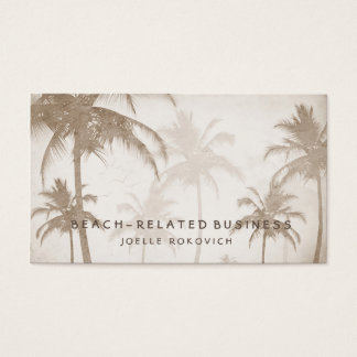 Lyrical Vintage Sepia Tropical Palm Trees Birds Business Card