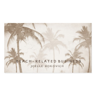 Lyrical Vintage Sepia Tropical Palm Trees Birds Pack Of Standard Business Cards