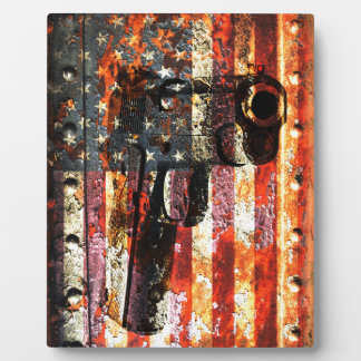 M1911 Silhouette On Rusted American Flag Plaque