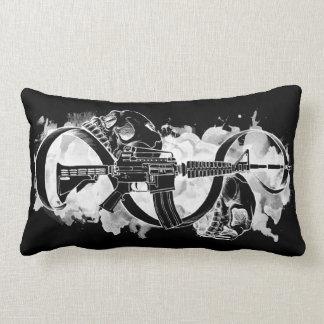 M4 and Skulls Black and White Lumbar Cushion