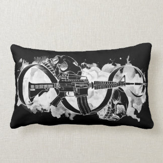 M4 and Skulls Black and White Lumbar Pillow