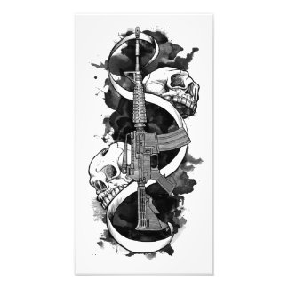 M4 with Skulls Original Art Photo