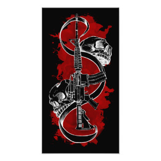 M4 with Skulls Red Photo Print