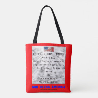 M. A. C. & B. - GOD BLESS AMERICA in Blue Letters Tote Bag