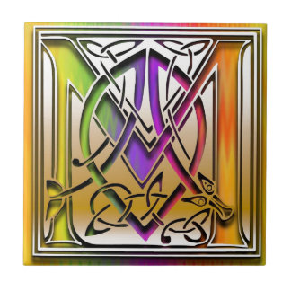 M Celtic Rainbow Custom Monogram Tile