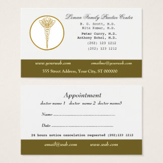 M.D. Doctors Medical Office & Appointment Business Card