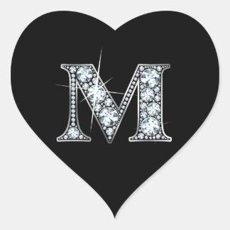 """""""M"""" Diamond Bling on Black Heart Sticker"""