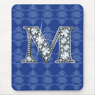 """M"" Diamond Bling with Knotted Damask Mousepad"