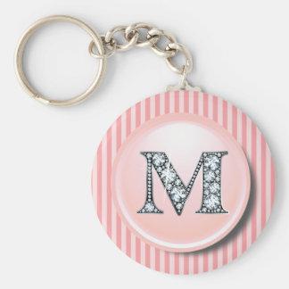 """""""M"""" Diamond Bling with Vintage Pink Circle Frame K Basic Round Button Key Ring"""