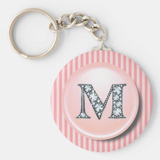 """M"" Diamond Bling with Vintage Pink Circle Frame K Key Chain"