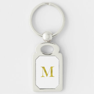 M Engravers Monogram Gold Faux Glitter Template Key Ring