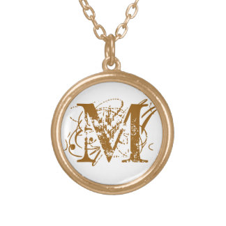 M gold initial monogram personalized retro jewelry