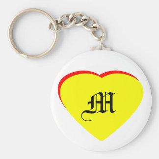 """M"" Heart Yellow Red Wedding Invitation The MUSEUM Key Chain"