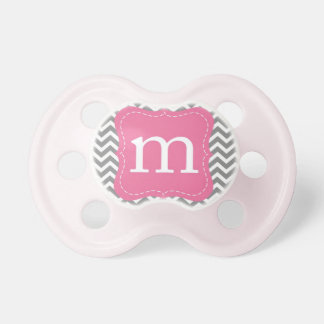 """""""M"""" Initial Chevron Baby Pacifiers"""