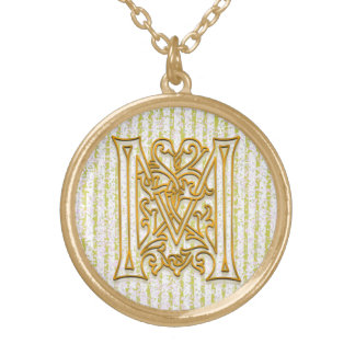 "M Initial Monogram ""Gold Pin Stripe"" Necklace"