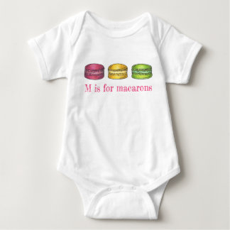 M is for Macarons French Macaron Cookie Pastry Baby Bodysuit