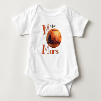 M is for Mars Red Planet & Astronomy Design Baby Bodysuit