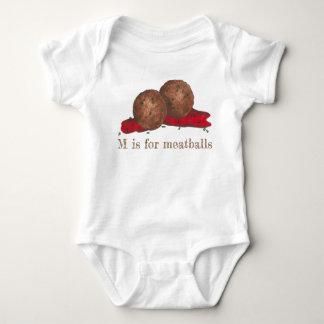 M is for Meatballs Italian Marinara Food Meat Ball Baby Bodysuit