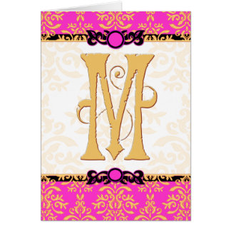 M is for Merci Beaucoup Hot Pink Damask Thank You Card