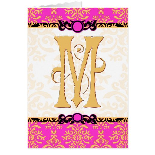 M is for Merci Beaucoup Hot Pink Damask Thank You Cards