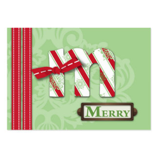 M is for Merry Gift Tag Business Card Template